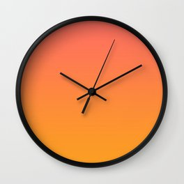 Pantone Living Coral 16-1546 & Pantone Radiant Yellow 15-1058 Ombre Gradient Blend Wall Clock