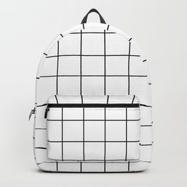 Grid Stripe Lines Black and White Minimalist Geometric Rucksack