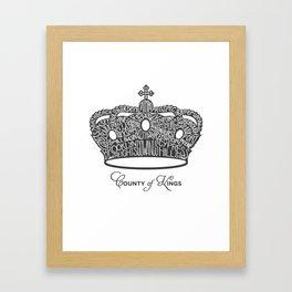 County of Kings | Brooklyn NYC Crown (GREY) Framed Art Print