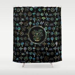 Decorative Chinese Money tree Abalone Shell Shower Curtain