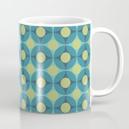 Geometric Circle Pattern Mid Century Modern Retro Blue Green Coffee Mug