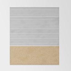 Minimal Gold Glitter Stripes Throw Blanket