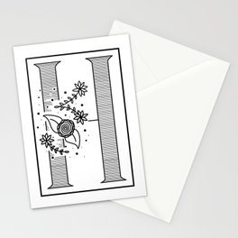 Letter H - Floral Monogram Collection Stationery Cards