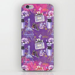 Fashion Victim - Paris France Elegance Shopping Girly in pink and purple iPhone Skin