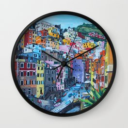 Cinque Terre, Italy - hillside with colourful houses and harbour  Wall Clock