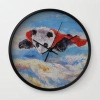 superheros Wall Clocks featuring Panda Superhero by Michael Creese