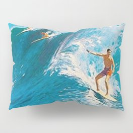 Hawaiian Surfer's Vintage Advertisement Poster Pillow Sham