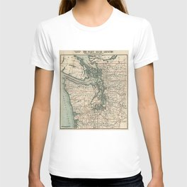 Vintage Map of The Puget Sound (1910) T-shirt