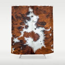 Cow skin pattern, brown spotted fur Shower Curtain