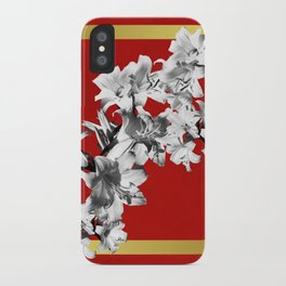 Lilies, Lily Flowers on Red iPhone Case
