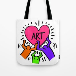"""Keith Haring inspired """"I Love Art"""" Secondary Colors edition Tote Bag"""