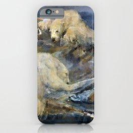 John Macallan Swan - Polar bears climb a floating dinghy - Digital Remastered Edition iPhone Case