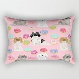Pekingese dog breed dog pattern pet portraits donut food dog breeds pet friendly Rectangular Pillow