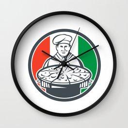 Italian Chef Cook Serving Pizza Circle Retro Wall Clock