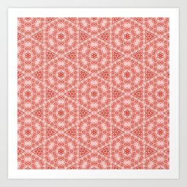 Coral and Peach Lace Art Print