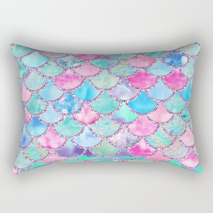 Colorful Pink and Blue Watercolor Trendy Glitter Mermaid Scales  Rectangular Pillow