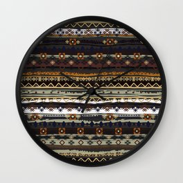Boho Horizontal Striped Pattern Wall Clock
