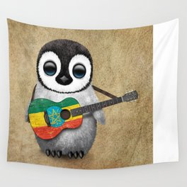 Baby Penguin Playing Ethiopian Flag Acoustic Guitar Wall Tapestry