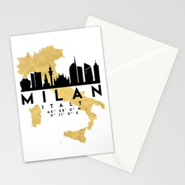 MILAN ITALY SILHOUETTE SKYLINE MAP ART Stationery Cards