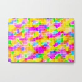 BRICK WALL SMUDGED (Multicolor Light) Metal Print