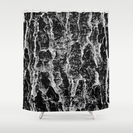 Lava cascade in black and white Shower Curtain
