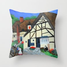 Old Village  Throw Pillow