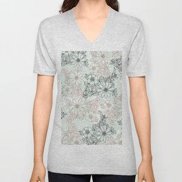 Mint black faux rose gold floral marble Unisex V-Neck