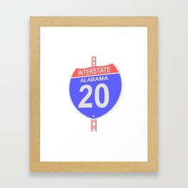 Interstate highway 20 road sign in Alabama Framed Art Print