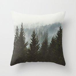 Wanderlust Forest II - Mountain Adventure in Foggy Woods Throw Pillow