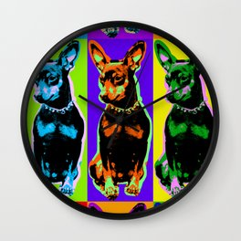 Poster with portrait of a miniature pinscher dog in pop art style Wall Clock