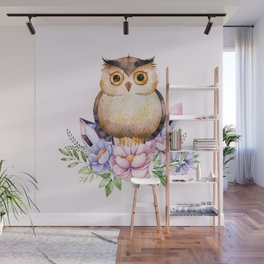 Bohomian Animal Illustration- Be Wise Little Owl Wall Mural