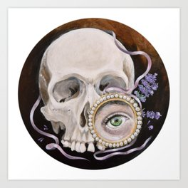 Stillife with skull, lavender and lovers eye Kunstdrucke