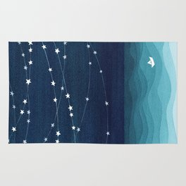 Garlands of stars, watercolor teal ocean Rug
