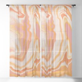 orange marble Sheer Curtain