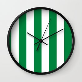 Classic Cabana Stripes in White + Kelly Green Wall Clock
