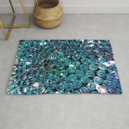 Turquoise Teal Crystals  Rug
