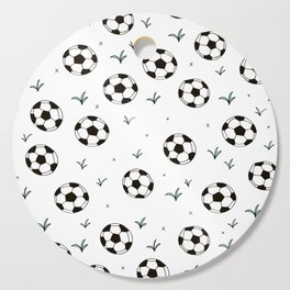 Fun grass and soccer ball sports illustration pattern Cutting Board