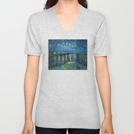 Van Gogh, Starry Night Over The Rhone Artwork Reproduction, Posters, Tshirts, Prints, Bags, Men, Wom Unisex V-Neck