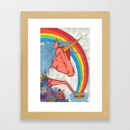 Unicorns love Hamburgers Framed Art Print