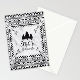 Black and White Arrows Boho Chic Tribal Aztec Pattern Forest Adventure Stationery Cards