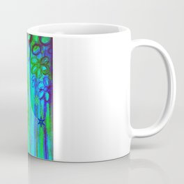 WINTER GARDEN -Bright Blue Green Neon Snowflake Floral Abstract Watercolor Painting and Digital Art Coffee Mug