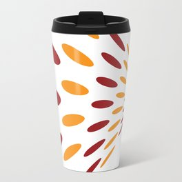 BROWN AND ORANGE DOTS  ON A WHITE BACKGROUND Abstract Art Travel Mug