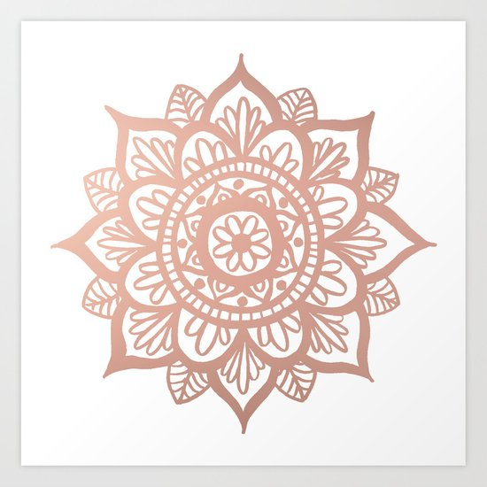 New Rose Gold Mandala Art Print
