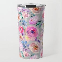 Blush pink gray lilac abstract botanical roses floral Travel Mug