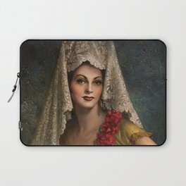 Spanish Beauty with Lace Mantilla and Comb by Jesus Helguera Laptop Sleeve