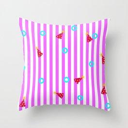 Baby shark pattern. Pink stripes. Baby birthday pattern. Throw Pillow