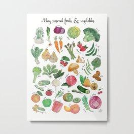 May seasonal fruits & vegetables watercolor illustration Metal Print
