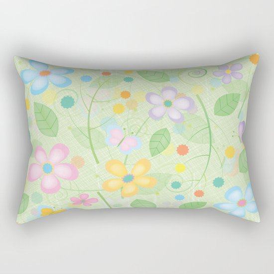 Floral and Butterfly Pattern - Spring Blossom Rectangular Pillow