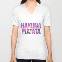 hakuna V-neck T-shirts featuring Hakuna Matata Vintage Beach Sunset by RexLambo