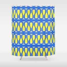 champagne flutes on blue Shower Curtain